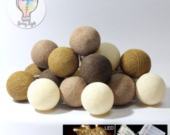 Led battery cotton ball string fairy lights home decor wedding party patio brown tone