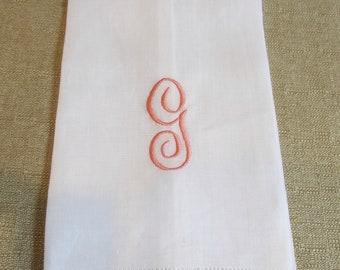 White linen hemstitched hand towel // script monogram // custom monogram towel // choose your thread color // Miss Kris Designs
