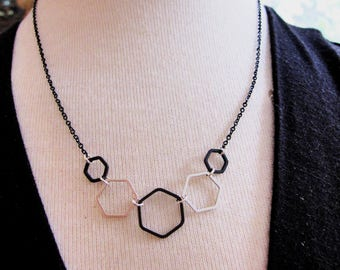 Silver Hex Necklace, Black Hexagon, Geometric Necklace, Hexagon Jewelry, Modern, Long Necklace, Redpeonycreations