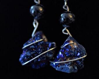 Dark Blue Geode - Earrings