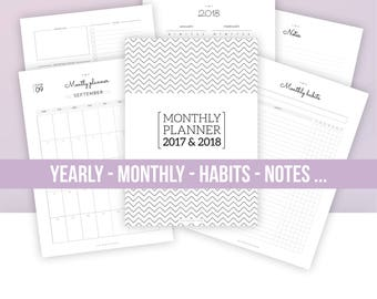 2017 & 2018 MONTHLY PLANNER SET   Instant Download   yearly and monthly calendar, monthly planner page, habits, note page...