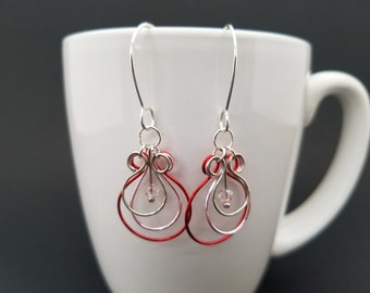 Romantic Reds with Pink Glass Earrings