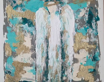 Original abstract angel painting