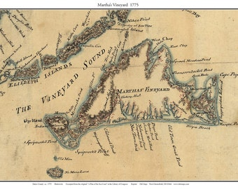 Martha's Vineyard 1775 map by Charles Blaskowitz - Custom Massachusetts