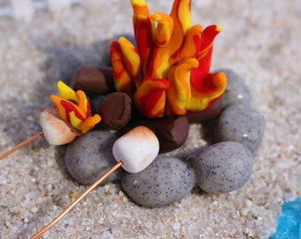 Miniature Campfire with Roasting Marshmallows, Christmas Elf,  Flaming Marshmallow, Fairy Gardens, Wedding Cake Toppers,  Dollhouse