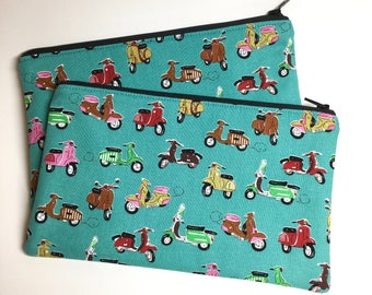 Pencil Case Zip Pouch - Scooters On the GO - Teal