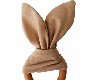 Crinkle Bunny Ears Teether Toy | Camel