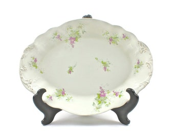 English Cottage Chic Platter, Floral Lilac Motif, Antique Porcelain Platter, John Maddock & Sons, Made in England, C1896+