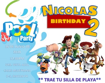 Toy Story pool party invitation
