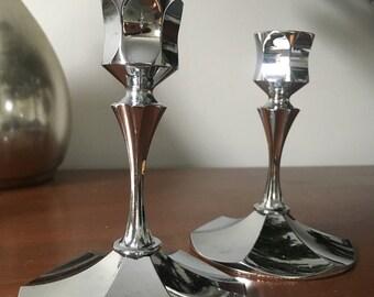 Vintage Candle Holder, Irvingware Chrome-Plated Candlestick Holders