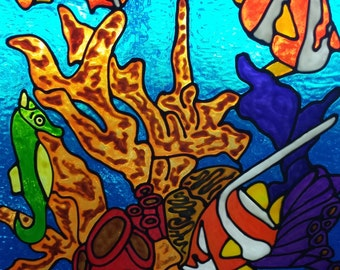 Ocean reef and tropical fish nautical stained glass window