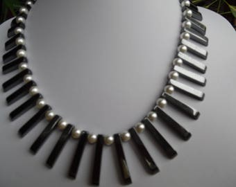 Hematite and Shell Pearl Necklace