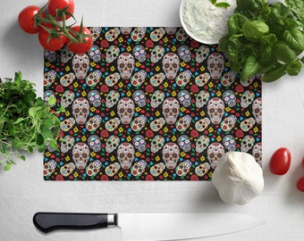 Mexican Sugar Skull, Cutting Board / Counter Saver / Chopping Board,  In Chinchilla Glass - Large 28.5cm x 39cm