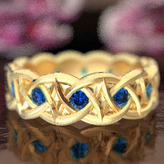 Gold Celtic Wedding Ring With Dara Knot Design & Blue Sapphire Stones in 10K 14K 18K or Palladium, Made in Your Size Cr-1036