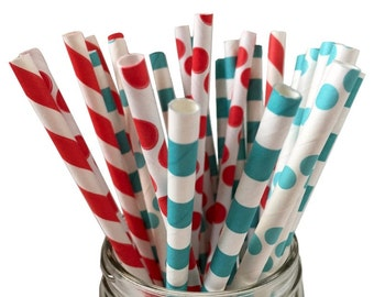 Red and Blue Straws, Paper Straws,  birthday party, Party Decoration, kids party, Party Decor, Sipping Straws 25