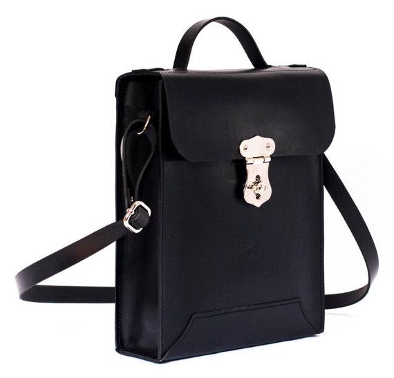 Leather Bag- Man bag - Laptop bag - Leather messenger bag, Man briefcase - Black Leather Shoulder Bag
