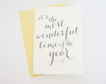 Most Wonderful Time Christmas Christmas Holiday Card Calligraphy