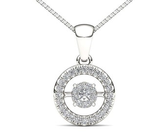 10Kt White Gold 0.15 Ct Diamond in Motion Pendant