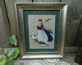 Vintage Cross Stitch on Linen - Woman on Geese