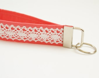 Bright Coral and Lace Key Fob - 5 Inch Loop - Key Ring - Key Wristlet - Key Chain - Fabric Keychain - Cute Key Fob - Short Wrist Lanyard