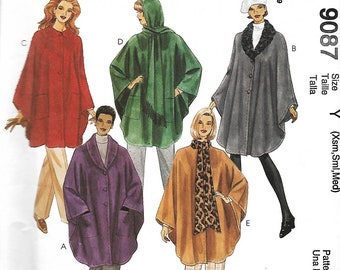 McCall's 9087 Misses Unlined Capes Sewing Pattern, Size XS-M, UNCUT