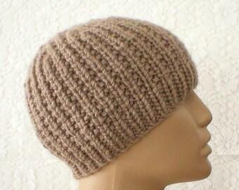 Tan taupe brown ribbed beanie hat, skull cap, winter hat, knit hat, toque, mens womens hat, chemo cap, beanie hat, ski snowboard, brown hat