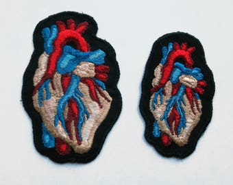 Anatomical Heart Embroidered Patch