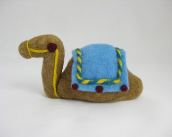 Nativity set, camel, needle felted wool animal, Waldorf inspired miniatures, camel for wisemen