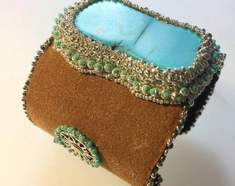 Half Price One week sale Turqouise and Leather Statement Cuff