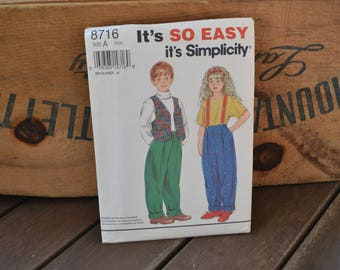 Simplicity 8716 Sewing Pattern, UNCUT, Boys and Girls Pants and Lined Vest Size A 2-6X, 1990s