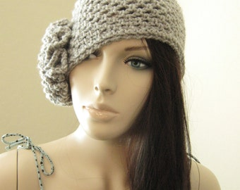 Crochet Cloche Hat 1920s Hat in Oatmeal Gray Crochet Hat
