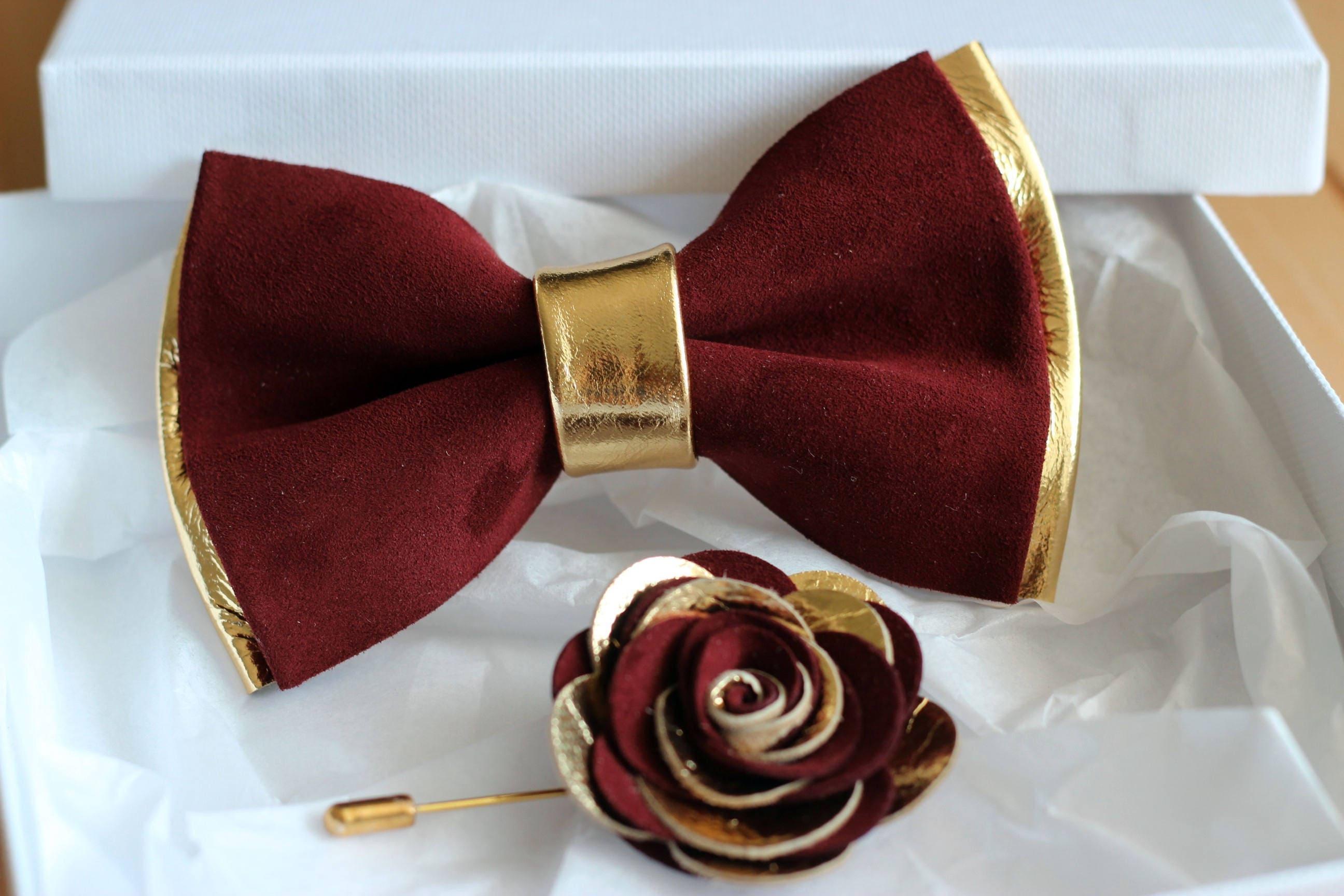 Mens bow tie burgundy leahter wedding bow tiegold burgundy
