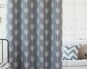 Grey Arrow Curtains, Areom Curtains Greya Nd White, Grey Curtains With  White Arrows,