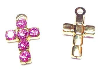 Rosa Strass Kreuz rosa religiöse Charm, rosa Strass, religiöse Kreuz-Anhänger, Anhänger, 16x10mm Kreuz