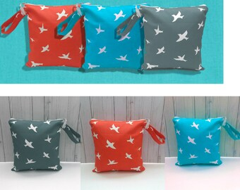 Choose your color Bird Waterproof Bag, Wet Bag, Swimsuit Bag, Beach Bag, Cloth diaper Bag, Wetbag, bikini bag