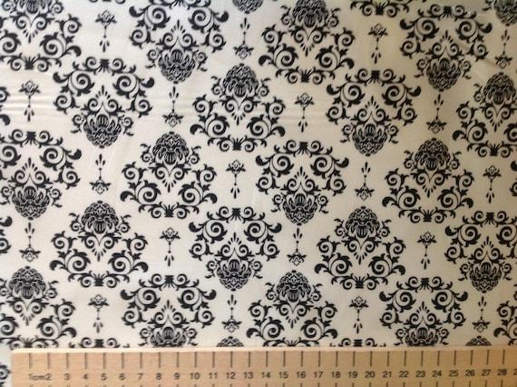 High quality cotton poplin printed in Japan, white/black wallpaper style print