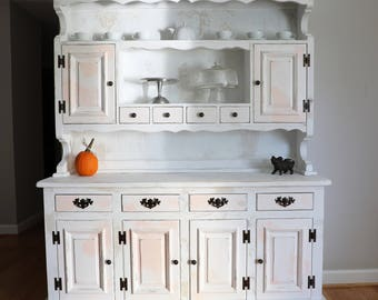 SOLD -- White Farmhouse Hutch Cabinet Cupboard  China Cabinet Buffet Refinished Distressed Painted Chippy