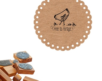 Free to Forage Hen -  Olive Wood Stamp