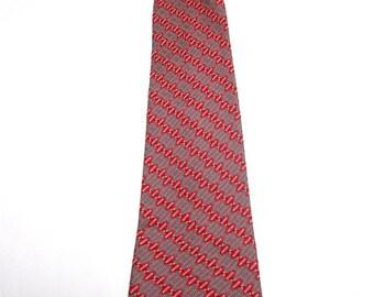 Clip On Necktie Red Gray Silver Clipon Neck Tie