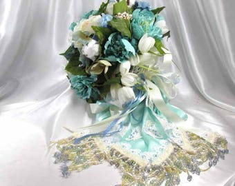 Aqua, Blue and Ivory Beaded Bridal Cascading Brooch Bouquet and Boutonniere Set Ready to Ship