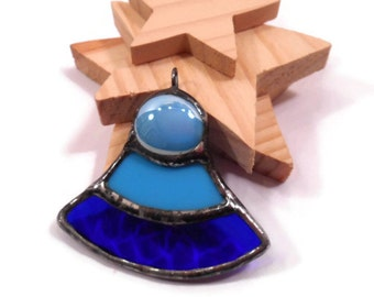 Stained Glass Necklace Blue Pyramid Pendant Handmade Jewelry Glass and Metal Jewelry Blue Glass Necklace Pendant Glass Pyramid Pendant