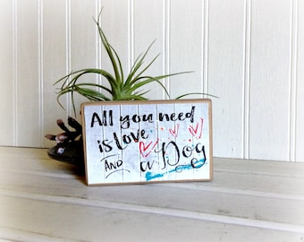 Wood Sign/Dog Wood Sign/Love and a Dog Wooden Sign/Gifts Under 20/Co-Worker Gifts/Stocking Stuffers/Dog Lovers Sign