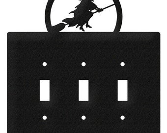 Witch Halloween Light Switch Triple Plate Cover