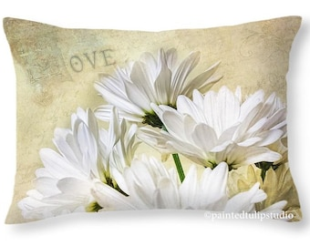 Romantic White Daisies Love Typography Accent or Travel Pillow, Rectangle Pillow with Fine Art Photography Home Decor