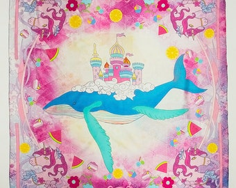 Printed scarf, silk scarf,square scarf, pink, purple, blue whale, dream castle, designer scarf with an orange gift box