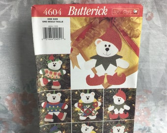 Butterick 4604, bear ornaments, holiday decor, ornaments, bear angel, UNCUT sewing pattern, craft supplies, Christmas accessories