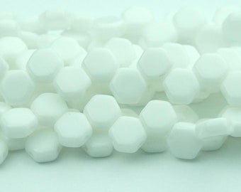 30x Czech Honeycomb Beads 6mm Hexagonal 2 Hole White Opaque