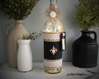 Wine Bottle Light/Battery Operated/Burlap/White Lace/Country Chic Home Decor/French Farmhouse Decor/Wine Lover Gift/Mother's Day Gift