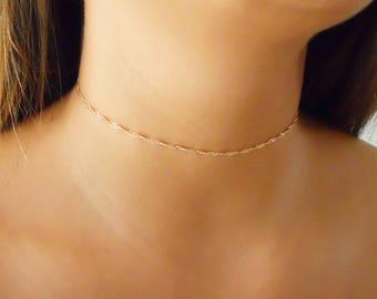 Gold Twirl Chain Choker, Gold Choker Chain, Layered Choker, Gold Twist Chain Necklace, Layering Gold Necklace,  #257