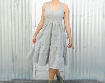 Hemp Peasant Dress - Lightweight Sleeveless Boho Summer Dress - Handmade by Yana Dee from Hemp & Organic Cotton Ticking